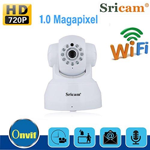 Sricam SP012 - Cámara IP de Vigilancia inalámbrica 720P CCTV(Wifi, Vision nocturna, H. 264, Detección de movimiento), Color Blanco