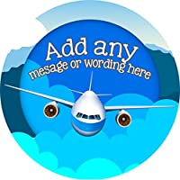Airplane Sticker Labels (24 Stickers, 4.5cm Each) Personalised Seals Ideal for Party Bags, Sweet Cones, Favours, Jars, Presentations Gift Boxes, Bottles, Crafts