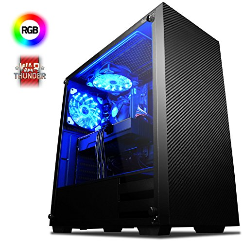VIBOX Kaleidos RMR780-3 Gaming PC Computer mit War Thunder Spiel Bundle (4,3GHz AMD Ryzen 8-Core Prozessor, Radeon RX 580 Grafikkarte, 8Go DDR4 2400MHz RAM, 2TB HDD, Ohne Betriebssystem)