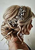 Handmadejewelrylady Brautschmuck Diadem Haarband Hochzeit Haarschmuck Braut Stirnband Blätterschmuck in  Rotgold Schmuck für Frauen Stirnreif