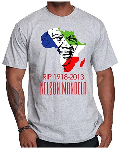 OM3 - Mandela - RIP 1918-2013 - T-Shirt Nelson Madiba Apartheid Süd Afrika Peace Frieden, 5XL, Grau Meliert