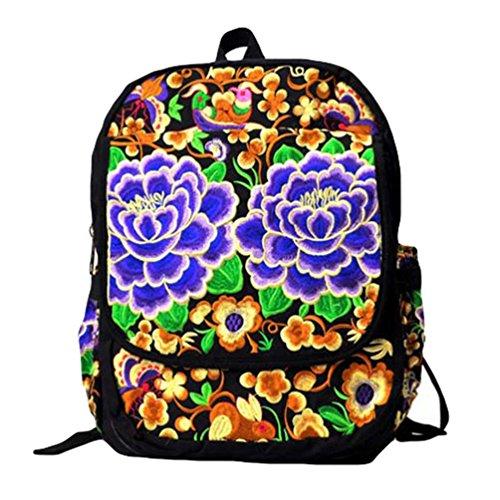 YAANCUN Rucksack Schulrucksack Vintage Mädchen Teenager Bestickt Kinderrucksack Daypacks Tasche Canvas Tasche Wie das Bild#4
