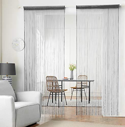 hsylym tejer cortina de paneles denso poliéster cortina de flecos Fly pantallas habitación separador para puerta ventana decoraciòn 90x200cm Gris