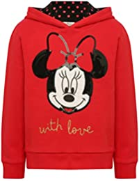 Disney Girls 100% Cotton Red Long Sleeve Sequin Minnie Mouse Motif Spot Print Lined Hooded Sweater