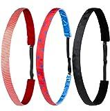 Ivybands® Kids | 3-er Pack | Rot Weiss Gestreift Blau Punkte Schwarz | Anti-Rutsch Haarband für Kinder | Kinderhaarband IKID007 IKID020 IKID046