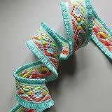 Neón Jacquard tejido trenzado con doble borde flecos recorte de, Fashion, por el metro 4.5 cm verde menta