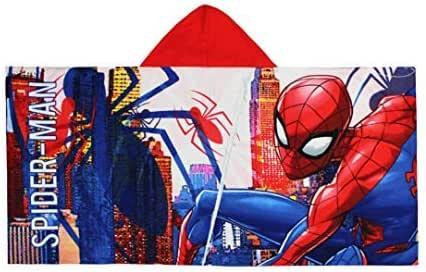 Taglia Unica Poncho da Bagno Spider-Man con Cappuccio in Cotone 100/% Diversi Modelli per Bambini