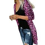 SHOBDW Mujeres de Manga Larga con Cuello en V Suelta Talla Grande Sexy Estampado de Leopardo Abrigo de Moda Blusa Camisetas sin Mangas Abrigos de Invierno Abrigos de Solapa(Rosa,x-Large)