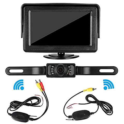 LeeKooLuu Wireless RC 12V - 24V Rear View Backup Camera and Mirror Monitor Kit For Car/Vehicle Waterproof with 7 LED Night Vision