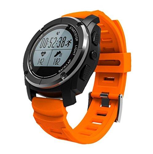Reloj elegante Bluetooth al aire libre Relojes inteligentes Posición profesional del GPS Carrera de montaña Jogging Temperatura del ritmo cardíaco Presión de desgaste inteligente (Color : Naranja)