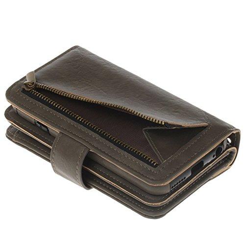 """MOONCASE iPhone 6s/iPhone 6 Coque, Built-in Card Slots Kits Flip Cuir Housse Doux Silicone Antichoc Protection Portefeuille Étuis Case pour iPhone 6/iPhone 6s 4.7""""4.0"""" Marron Foncé Gris"""