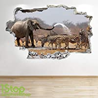 1Stop Graphics Shop ELEPHANT ZEBRA WALL STICKER 3D LOOK - BEDROOM LOUNGE NATURE WALL DECAL Z646