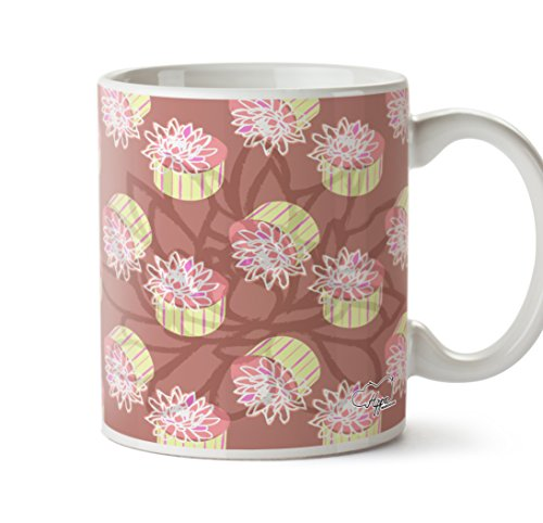 etopfte Lotus Flower Muster bedruckt Tasse 284ml Keramiktasse, keramik, pfirsich, One Size (10oz) (Zauber-gypsy)
