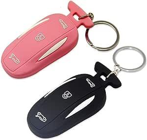 Sunower Silikon Autoschlüsselring 2 Packungen Schlüsselanhänger Schutzhülle Für Tesla Model X Pink Schwarz Bekleidung