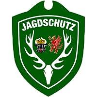 Waidmannsbruecke JAGDSCHUTZ Saugnapf Autoschild Hubertushirsch mit und Ohne Länderwappen