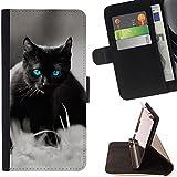 STPlus Chat Noir Animal Coque Portefeuille Housse de Protection Étui pour Samsung Galaxy S7 Edge