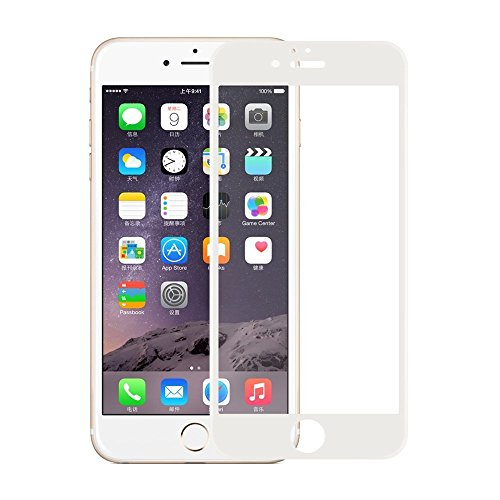 Qubik Soft Sides Curved Edge 3D Full Screen Tempered Glass Screen Protector for iPhone 6 6S - White