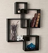 Acco & Deco Wooden Intersecting Wall Shelves/Shelf for Living Room | Set of 4 | B