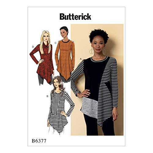 Gedruckt Jersey Tunika (Butterick Patterns Butterick 6377E5Schnittmuster Tunika, Mehrfarbig, Größen 14-22)