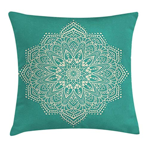 Mandala Decor Throw Pillow Cushion Cover by, East Microcosm Chart with Floral Center Point Space Kitsch Yantra Yoga Image, Decorative Square Accent Pillow Case, 18 X 18 Inches, Teal Beige