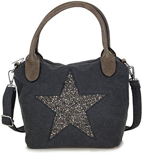 Damen Handtasche mit silber Stern Motiv - Umhängetasche aus Canvas Stoff mit verstellbarem Riemen - in schwarz