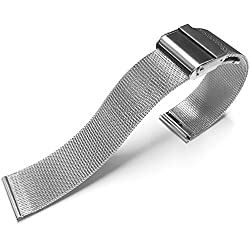 Stainless Steel Mesh Watch Strap Bracelet Safety Clasp 18mm