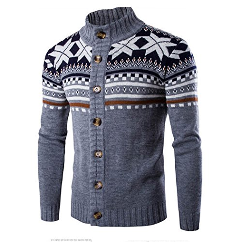Longra Clavo con capucha de los hombres del viento del cuello del suéter, chaqueta de abrigo a prueba de viento caliente de la blusa (Tamaño Int'l: XL, Gris)