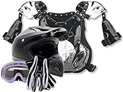 XX-Large : Adult Offroad Helmet Goggles Gloves and Chest Protector GEAR COMBO Motocross - Matte Black, Purple ( XXL )