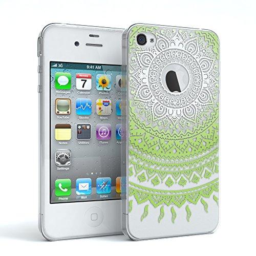 Apple iPhone 4 / 4S Schutzhülle Silikon Mandala Design I von EAZY CASE I Slimcover Henna, Handyhülle, TPU Hülle / Soft Case, Silikonhülle, Backcover, indische Sonne, transparent, Weiß/Grün
