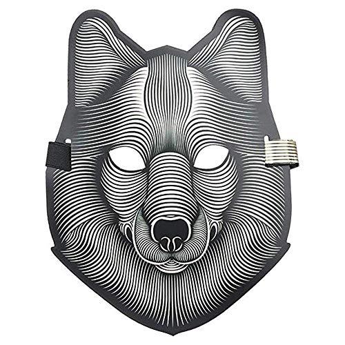 Home Halloween Full Face Skull Masken Erwachsene, Sound aktivierte LED leuchten Tanzparty notwendige Maske, Tiger und Wolf Tiermaske (Color : E)