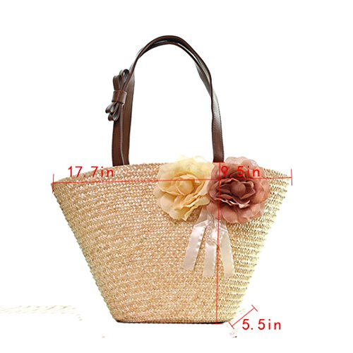 Millya, Borsa tote donna, Rose Red (rosa rosso) - kb-00152-02 Rice White