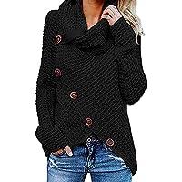 Celucke Womens Button Long Sleeve Sweater Sweatshirt Winter Warm Comfortable Turtleneck Coat Casual Jacket Pullover Tops Blouse Knit Shirt Daily Outwear