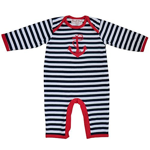 Powell Craft Baby Boys Anchor Sleepsuit. 0-12 Months.Red (6-12 MONTHS) by Powell Craft