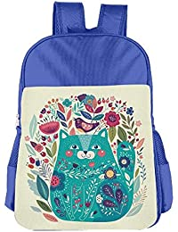 Cute Kitty Surrounded by Birds Flowers Children School Backpack Carry Bag For Teens Boys Girl