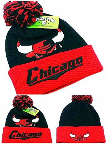 Chicago Leader New Knit Beanie Toque Pom Bulls Farben Kopf schwarz rot Manschette Era Hat Cap New Era Toque