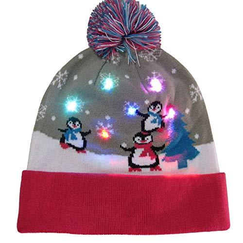 Deloito Unisex LED Beleuchtete Bunte Lichter Weihnachten Hüte -
