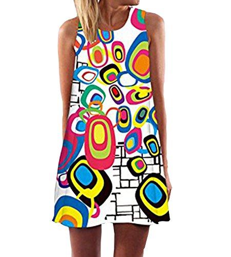 RAYWIND Neueste Kleid f¨¹r Frauen beil?ufige Sommer Kleider mit Blumenmuster (Jahre Kleider 70er)