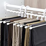 #5: Pant Hanger - 5 In 1 Multi-Purpose Stainless Steel Trouser Pants Hangers Jeans Clothes Organizer Folding Storage Rack Space Saver Storage Rack For Hanging By KARP