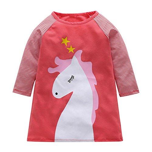 Kleid Mädchen, HUIHUI Festlich Prinzessin Party Kleid Mode Cartoon Pferd Streifen Lange Ärmel Rock Casual Frühling Sommer Herbst Bekleidung 1-6 Jahr (110 (2-3Jahr), ()