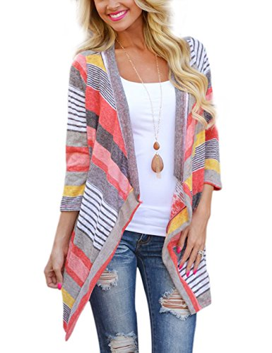 Yidarton Damen Strickjacke Langarmshirt Irregular Colorful Striped Baumwolle Kimono Cardigan Oberteil Mantel Cover Up Outwear (XL, Rot)