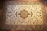 Karatcarpet Orientalischer Teppich Kurzflor Kollektion Lotos 523/100 Hell Braun, Beige, Seidenglanz, Muster: Bordüre, Ornamente. (250x350 cm)