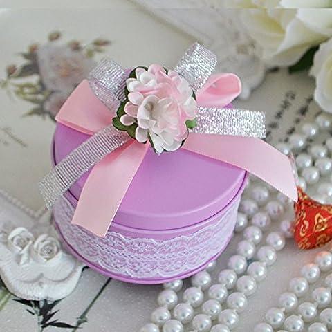 XHDWNBM 20 Pcs Il Purple-Hi Contenitore zucchero latta matrimonio Profilo Euro Cylinder-Hi cartuccia di zucchero nozze Creative prodotti scatola di ferro di Wedding confezione regalo di Natale di zucchero , piccolo 7.5*4.5Cm