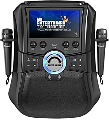 Mr Entertainer Megabox Portable Bluetooth Karaoke Machine with Screen. CDG/DVD/MP3G/USB/RECORD. Includes 200 Song Family Party Pack and 2 Microphones