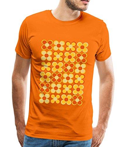re Blumen Männer T-Shirt, XL, Orange (70er Jahre T Shirts)