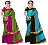 Art Decor Sarees Cotton Saree with Blouse Piece (Pack of 2) (Ashi Combo Green SkyBlack_Green & Blue_Free Size)