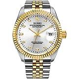 Burei Herren Uhren Automatische Armbanduhr kratzfest synthetischen Saphir Linsen und Edelstahl Band (Gold-Silber)