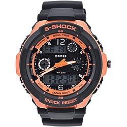 Bozlun Men's Digital Sports Watch Double Display Waterproof LED Auto Date Stopwatch Alarm Repeat - Orange