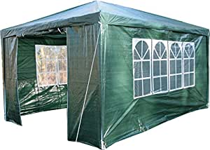 Airwave 3 x 4m Party Tent Gazebo Marquee with Unique WindBar and Side Panels 120g Waterproof Canopy, Green, 120g