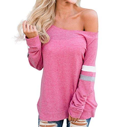 TWIFER Herbst Damen Streifen Schulterfrei Langarm Shirt Pullover Tops Bluse (Jahre Langarm 90er)