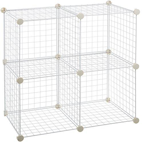 Amazonbasics - scaffalatura in filo, quattro cubi - bianco